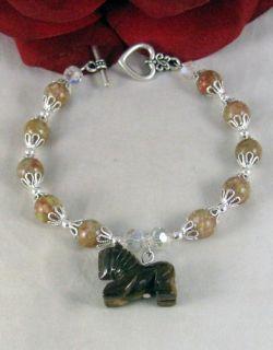 Artisan Autumn Jasper Lion Charm Bracelet Cat Rescue