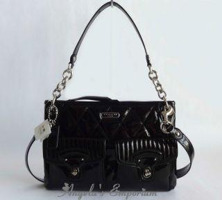 Coach Poppy Hippie Liquid Gloss Shoulder Crossbody Bag F18678 SV Black