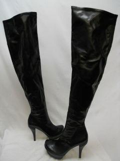 NEW Lisa for Donald J Pliner Womens Idas Black Leather Over The Knee
