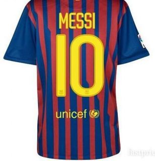 Lionel Messi 10 Barcelona Short Sleeve Home Red and Blue Jersey Shorts