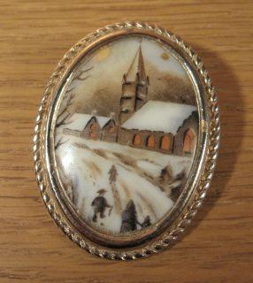 Vintage Oval Limoges Procelain Pin Brooch Pendant Winter Scene Gold