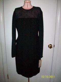 Jones New York Little Black 1 PC Dress with Beaded Sheer Top Sleeves