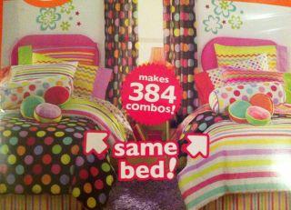 LITTLEMISSMATCHED ZANY BLACK TWIN BED IN A BAG COMFORTER SET POLKA