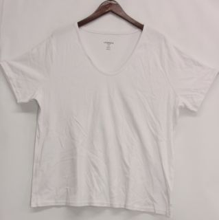 Liz Claiborne New York Sz 2X Essentials Rounded V Neck Top White New