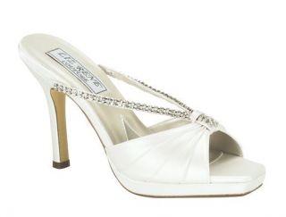 Liz Rene White Dyeable Silk Satin Tatiana Prom Bridal Open Toe Sandal