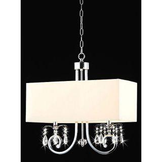 Beige 2 Light Linear Chrome Crystal Chandelier Pendant Lighting Lamp