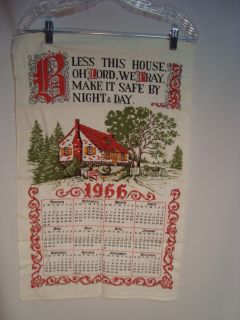 Linen Tea Towel Calendar 1966 Bless This House O Lord Beautiful