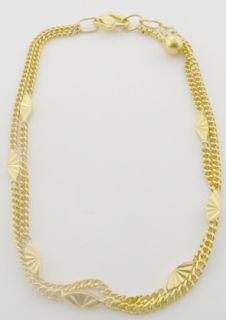 Ladies 22K Yellow Gold Double Row Chain Link Bracelet