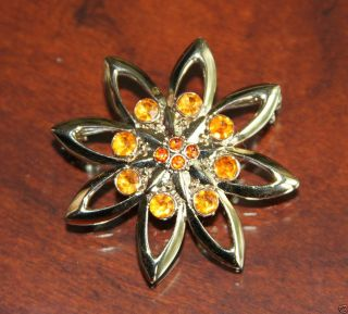 Liz Claiborne Gold Tone Amber Star Starburst LC Pin Brooch Costume