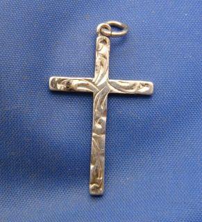 Vintage English Cross Charm Pendant Marked AJH Silver