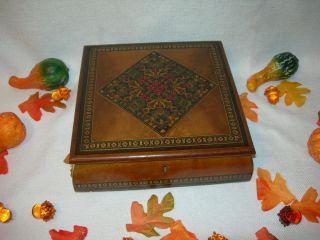 Wood Wooden LOCK KEY BOX Needlepoint inlay Design Wood Chest Box Satin