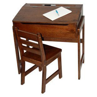 Lipper Walnut Child Flip Top School Desk Chair Storage