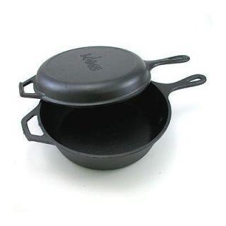Lodge Logic Cast Iron Pre Seasoned Combo Cooker Dual Pan Set Dutch