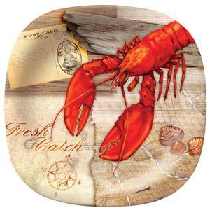 New 11 Fresh Catch Lobster Melamine Square Dinner Plate Set Set of 6