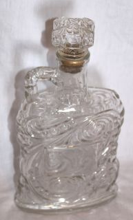VINTAGE CLEAR GLASS OLD FORESTER LIQUOR BOTTLE DECANTER WITH HANDLE 11