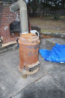 Locke Warm Morning wood or coal burning stove fireplace with stack and