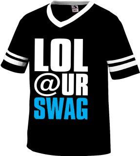 LOL Your Swag Mens V Neck Ringer T Shirt Funny Hilarious Loser Diss