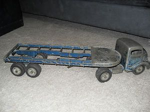 Antique Vintage SMITH MILLER Smitty Toy Truck W Flatbed Log Trailer