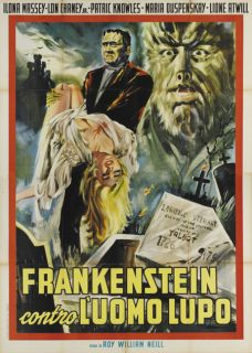 Frankenstein Lon Chaney Jr Vintage Horror Movie Poster