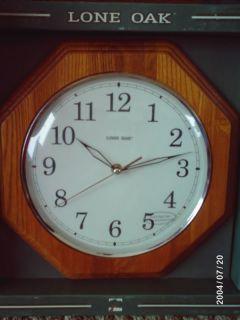 Lone Oak 12 Octagon Wall Clock w Wood Frame Glass Face