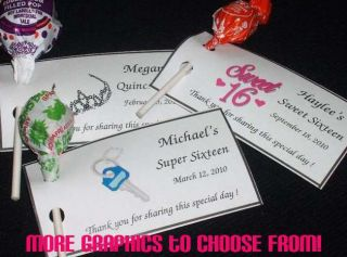 Super 16 Quinceanera 15 Lollipop Holders Tags Birthday Favor