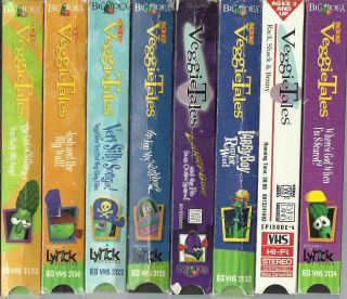 Lot of 8 VeggieTales Veggie Tales VHS Videos