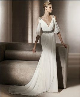 Elegant White Long Sleeve Beaded Chiffon Wedding Dress Formal Gown