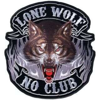 Lone Wolf No Club Biker Patch XXL 11 inch Patch