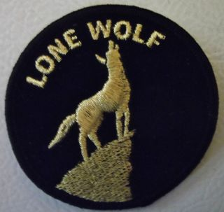Lone Wolf Motorcycle Biker Jacket Patch Black with Gold Letters
