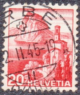 1945 Switzerland 20 Helvetia Used Stamp