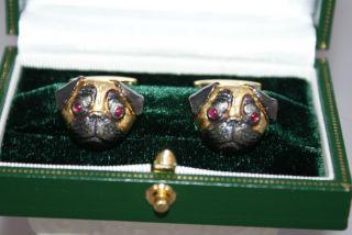 Longmire Authentic Pug 18 KT Gold Ruby Eyed Cufflinks