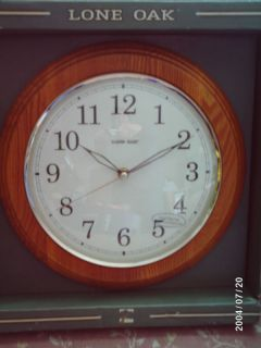 Lone Oak 12 Round Wall Clock w Wood Frame Glass Face