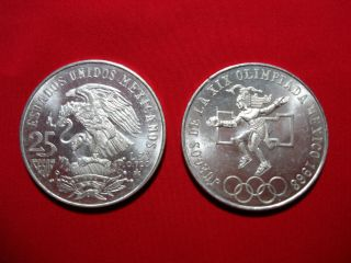 Pesos Silver Coin Celebrating the 1968 Olympics 25 pesos Mexico LOOK