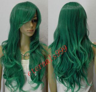 K29 Fashion Long Dark Green Curly Hair Womens Cosplay Wig Wigs