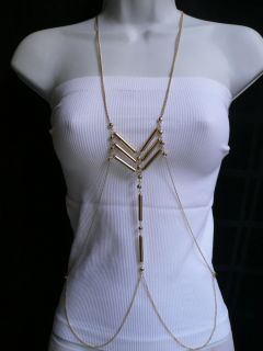NEW WOMEN LONG NECKLACE HOLLYWOOD GOLD METALS BEADS FASHION BODY CHAIN