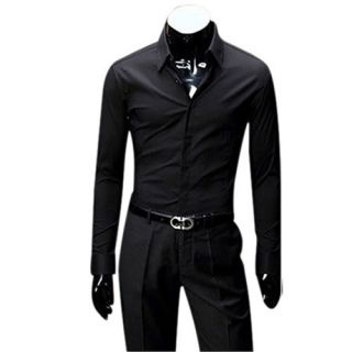 Mens Long Sleeve Point Collar Woven Shirts Slim Dress Shirt