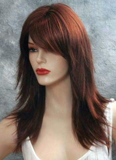 Lively Long Brown Auburn Red Wig Wigs Skin Top New