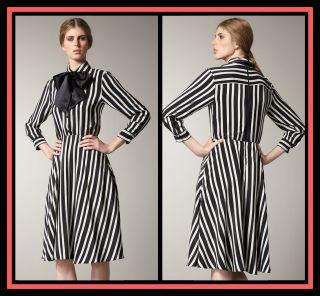 Alice Olivia Loraine Striped Shirt Dress s 4 6 UK 8 10 $396 Silk Black