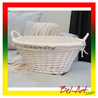 Double Sided White Laundry Wicker Basket Photography Studio Photo Prop