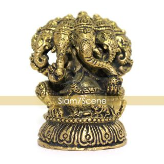 Lord Ganesh 5 Faces Brass Statue Sculpture Hindu God OM