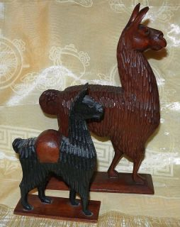Hand Carved Wooden Llama Figurines Pair Peru Art Pieces 9 inch and 6