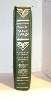 Works of Mark Twain Leather Tom Sawyer Huckleberry Finn Connecticut