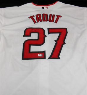 AL ROY LOS ANGELES ANGELS MIKE TROUT SIGNED JERSEY WITH COA WHITE SIZE
