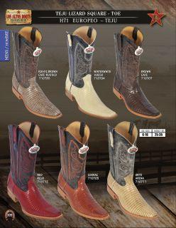 Los Altos Square Toe Teju Lizard Mens Western Cowboy Boots Diff