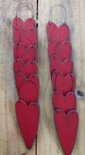 Primitive Wood Red Heart Ornaments Winter Tree Gathering 12