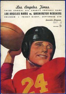 Program Washington Redskins V Los Angeles Rams Sammy Baugh