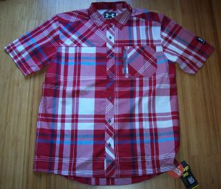 Mens Under Armour HeatGear Big Plaid Woven Short Sleeve Shirt L