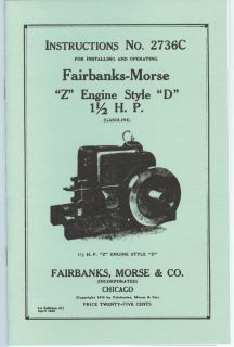 Fairbanks Morse Z Style D Engine Instruction Manual 1 1 2 HP 2736C FM