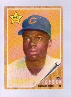 1962 Topps 387 Lou Brock RC Crease Free EX