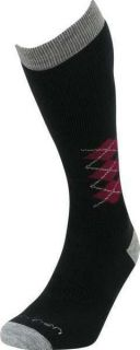 LORPEN Ski Over Calf Merino Wool Socks Black Red Print Size M L XL